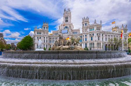 Cybeles Square (Plaza de la Cibeles) and Central Post Office (Palacio de Comunicaciones) in Madrid, Spain