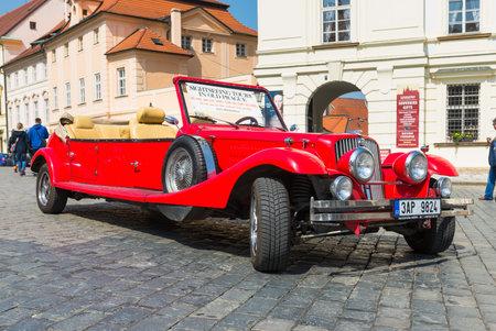Prague, Czech Republic - April 23, 2015: Old Alfa Romeo car for city tour in Hradcany. Prague