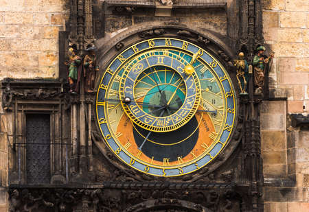 Astronomical Clock Orloj in the Old Square of Prague. Czech Republic Stock Photo
