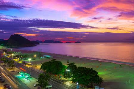 Sunset on Copacabana and Leme beach in Rio de Janeiro, Brazil