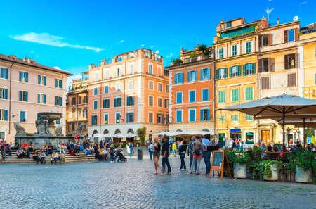 Square Santa Maria in Trastevere, Rome. Italy 写真素材