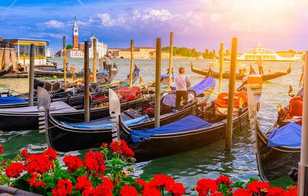 San Marco square with gondolas, Venice. Italy Stock Photo