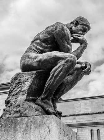 The Thinker (Le Penseur) - bronze sculpture by Auguste Rodin, Paris. France