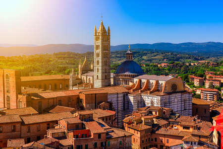 Aerial view of Siena and Siena Duomo in Siena, Tuscany, Italy