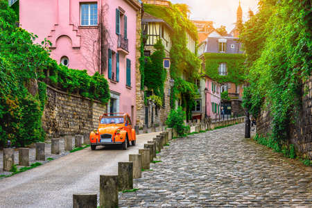 View of cozy street in quarter Montmartre in Paris, France