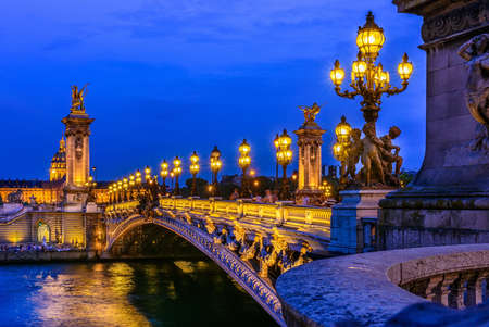 Pont Alexandre III (Alexander the third bridge) over river Seine in Paris, France