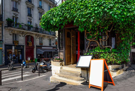 Cozy street of old Montmartre in Paris, France