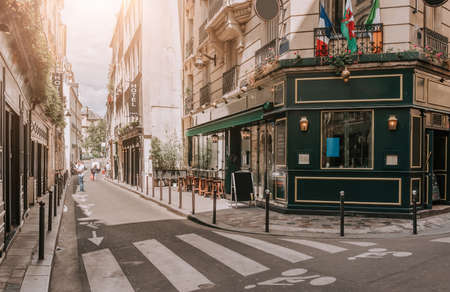 Cozy street with tables of irish pub in Paris, France Stock fotó