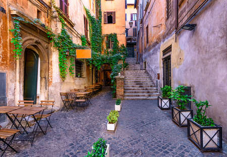 View of old cozy street in Rome, Italy Фото со стока