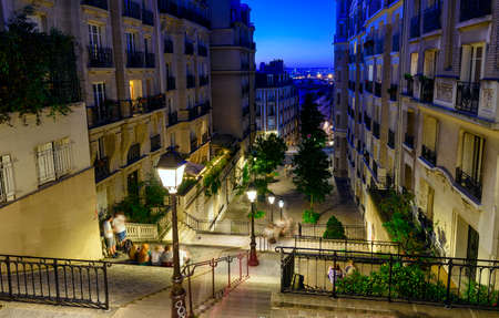 Typical Montmartre staircase in Parisat night, France