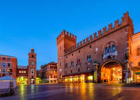 Pallazzo Communale (Palazzo Municipale) and Piazza della Cattedrale in Ferrara, Emilia-Romagna, Italy. Ferrara is capital of the Province of Ferrara
