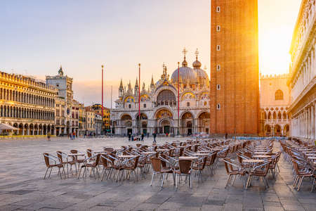 View of Basilica di San Marco and Campanile on piazza San Marco in Venice, Italy. Architecture and landmark of Venice. Sunrise cityscape of Venice. Stok Fotoğraf