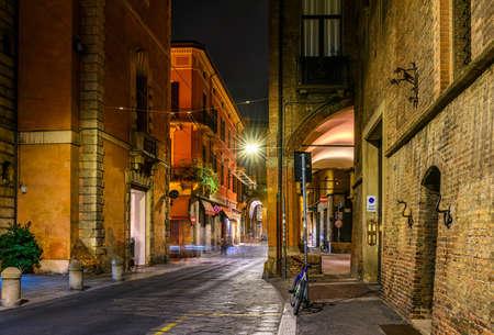 Old narrow street in Bologna, Emilia Romagna, Italy