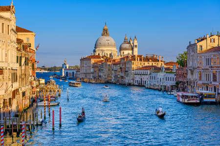 Grand Canal with Basilica di Santa Maria della Salute in Venice, Italy. View of Venice Grand Canal. Architecture and landmarks of Venice. Venice postcard Reklamní fotografie