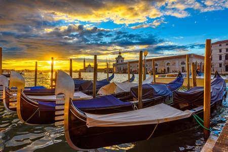 Canal Grande with Venice gondola in Venice at sunrise, Italy