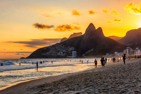 Sunset view of Ipanema beach, Leblon beach and the Mountain Dois Irmao in Rio de Janeiro. Brazil