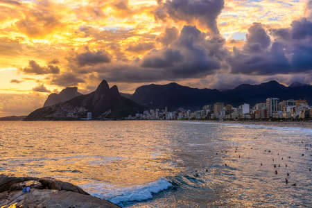 Sunset on Ipanema beach and mountain Dois Irmao (Two Brother) in Rio de Janeiro, Brazil