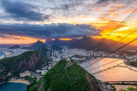 Sunset view of Copacabana,  Corcovado, Urca and Botafogo in Rio de Janeiro. Brazil Reklamní fotografie