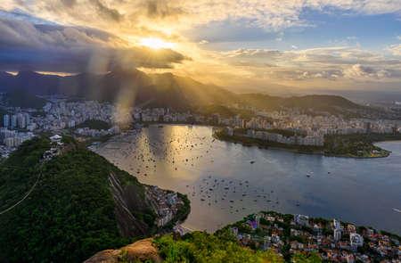 Sunset view of Corcovado and Botafogo in Rio de Janeiro. Brazil
