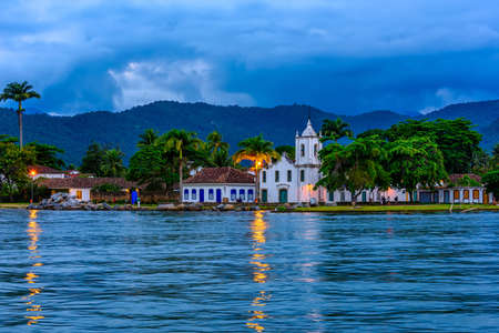 Historical center of Paraty at night, Rio de Janeiro, Brazil. Paraty is a preserved Portuguese colonial and Brazilian Imperial municipality