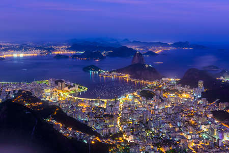 Night view of the mountain Sugarloaf and Botafogo in Rio de Janeiro, Brazil