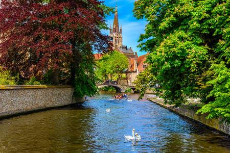 View of canal in the historic city center of Bruges (Brugge), West Flanders province, Belgium. Cityscape of Bruges. Reklamní fotografie