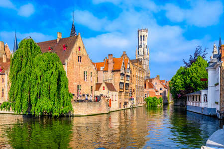 Classic view of the historic city center of Bruges (Brugge), West Flanders province, Belgium. Cityscape of Bruges with canal. Reklamní fotografie
