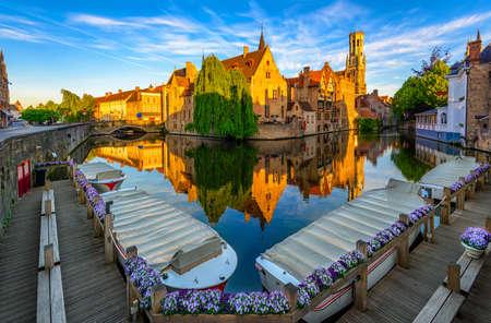Classic view of the historic city center of Bruges (Brugge), West Flanders province, Belgium. Cityscape of Bruges. Reklamní fotografie