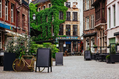 Old street of the historic city center of Antwerpen (Antwerp), Belgium. Cozy cityscape of Antwerp. Architecture and landmark of Antwerpen Reklamní fotografie