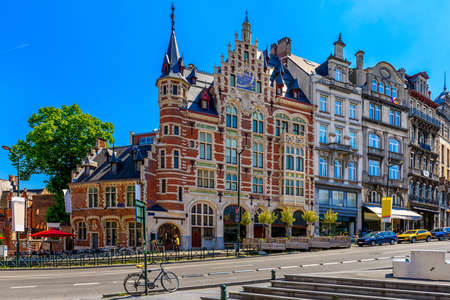Old street in center of Brussels, Belgium. Cityscape of Brussels (Bruxelles). Architecture and landmarks of Brussels. Reklamní fotografie