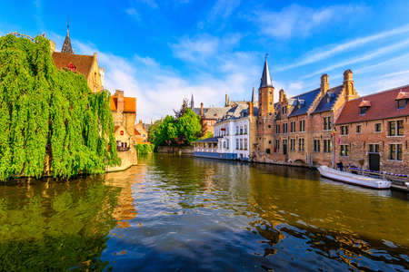 Classic view of the historic city center of Bruges (Brugge), West Flanders province, Belgium. Cityscape of Bruges. Zdjęcie Seryjne