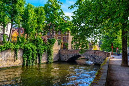 View of the historic city center of Bruges (Brugge), West Flanders province, Belgium. Cityscape of Bruges with canal.