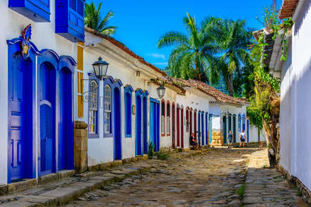 Cozy street of historical center in Paraty, Rio de Janeiro, Brazil. Paraty is a preserved Portuguese colonial and Brazilian Imperial municipality