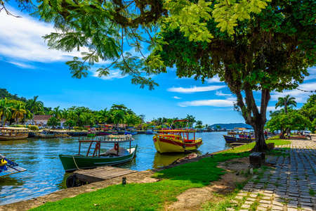 Historical center of Paraty with boats, Rio de Janeiro, Brazil. Paraty is a preserved Portuguese colonial and Brazilian Imperial municipality