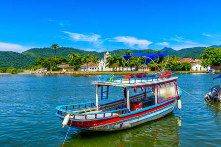 Historical center of Paraty with boat, Rio de Janeiro, Brazil. Paraty is a preserved Portuguese colonial and Brazilian Imperial municipality