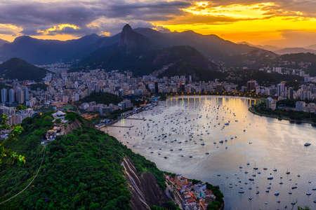 Sunset view of Corcovado, Botafogo and Guanabara bay in Rio de Janeiro. Brazil