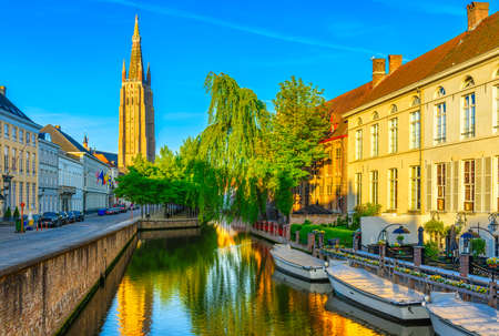 View of the historic city center of Bruges (Brugge), West Flanders province, Belgium. Cityscape of Bruges. Stok Fotoğraf