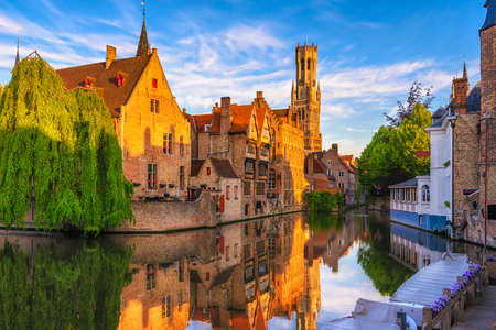 Classic view of the historic city center of Bruges (Brugge), West Flanders province, Belgium. Cityscape of Bruges. Stok Fotoğraf
