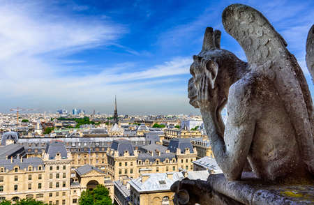Gargouille sur Notre Dame de Paris sur fond d'horizon de Paris, France.