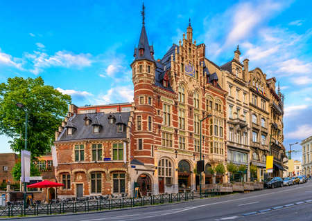 Old street in center of Brussels, Belgium. Cityscape of Brussels (Bruxelles). Architecture and landmarks of Brussels. 写真素材