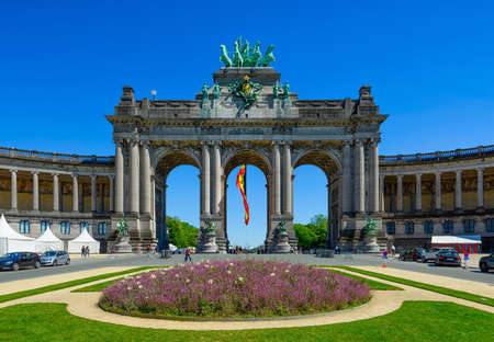 Triumphal Arch (Arc de Triomphe) in Parc du Cinquantenaire (Park of the Fiftieth Anniversary in European Quarter in Brussels, Belgium. Architecture and landmarks of Brussels (Bruxelles). Cityscape of Brussels.