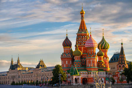 Saint Basil's Cathedral and Red Square in Moscow, Russia. Architecture and landmarks of Moscow. Cityscape of Moscow Banco de Imagens