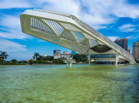 Rio de Janeiro, Brazil - March 31, 2019: The Museum of Tomorrow (Museu do Amanha) in Rio de Janeiro, Brazil. Cityscape of center of Rio de Janeiro Editoriali