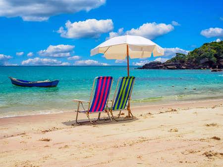 Azeda Beach with two chairs and umbrella in Buzios, Rio de Janeiro, Brazil. Seascape of Buzios