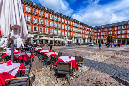 Plaza Mayor in Madrid, Spain. Plaza Mayor is a central plaza in the city of Madrid. Architecture and landmark of Madrid