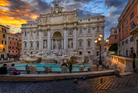 Sunset view of Rome Trevi Fountain (Fontana di Trevi) in Rome, Italy. Trevi is most famous fountain of Rome.