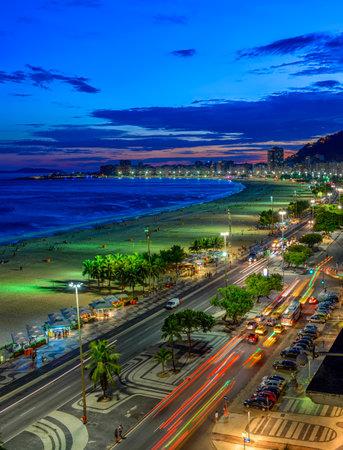 Night view of Copacabana beach and Avenida Atlantica in Rio de Janeiro, Brazil. Copacabana beach is the most famous beach of Rio de Janeiro, Brazil. Skyline of Rio de Janeiro. Reklamní fotografie