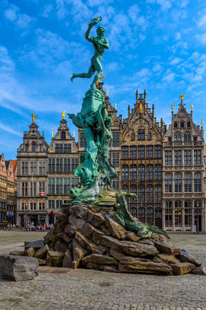 The Grote Markt (Great Market Square) of Antwerpen (Antwerp), Belgium. It is a town square situated in the heart of the old city quarter of Antwerpen. Cityscape of Antwerp.