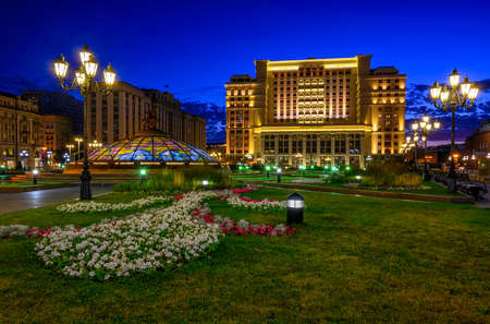 Manege Square in Moscow, Russia. Architecture and landmarks of Moscow. Night cityscape of Moscow