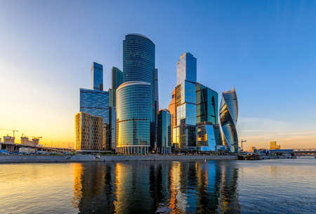 Skyscrapers of Moscow City business center and Moscow river in Moscow at sunset, Russia Banco de Imagens